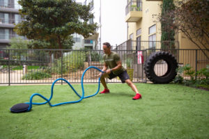home gym workout routine battle rope waves